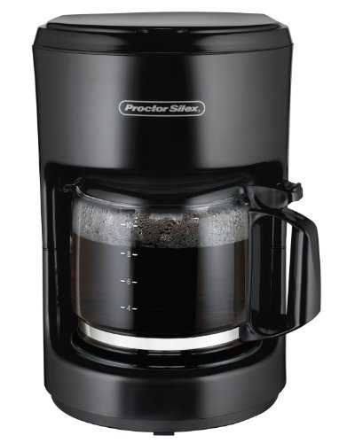Proctor Silex 10-Cup Coffee Maker, Works with Smart Plugs That Are Compatible with Alexa (48351), Auto Pause and Serve, Black