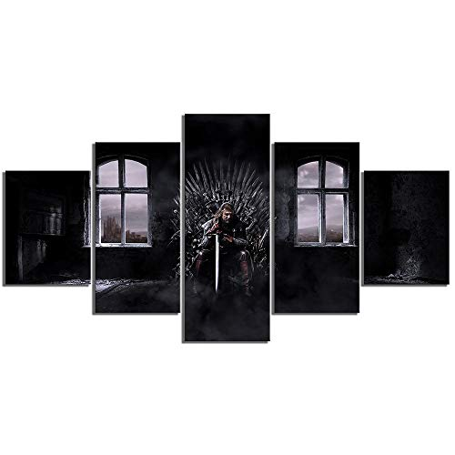 Mxsnow 5 Cuadro sobre Lienzo Marco De Madera Mural HD Game Thrones Movie  Poster Wall Sticker Ned Stark Iron Song Ice and Fire Poster Canvas Painting  ...