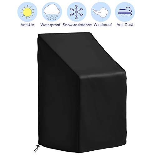 CYWEB Coperture per Sedie da Giardino, Telo Protettivo per Sedie Impilabili Esterno Impermeabile Anti-UV Tessuto 420D Oxford, 65 x 65 x 80/120 cm