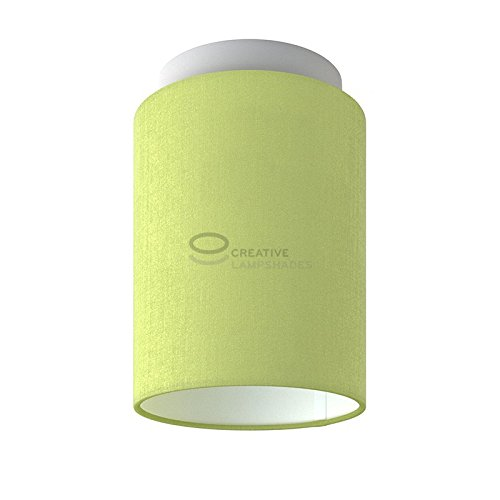 Fermaluce: wand- of plafondspot in wit metaal met Olijfgroene Canvas Cilinder Lampenkap Ø 15 cm h18 cm