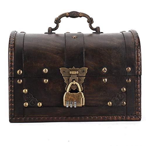 Evonecy Organizador de joyero Vintage, Caja de Almacenamiento de Madera, práctico portátil para Guardar Pulsera, Collar, Pendientes