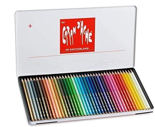 Caran D'ache Swisscolor - Juego de lápices de color lápices de acuarela (40 unidades, caja metálica)