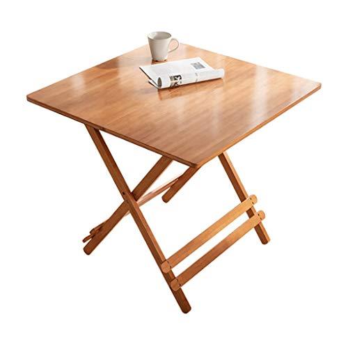 LICHUAN Mesa plegable portátil de madera maciza de bambú mesa plegable – con pie portátil multifuncional mesa plegable, con patas plegables para portátil y mesa de picnic (color: natural)
