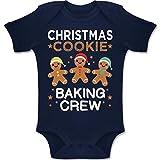 Shirtracer Weihnachten Baby - Christmas Cookie Baking Crew - 3 Kekse - 1-3 Monate - Navy Blau - BZ10 - Baby Body Kurzarm Jungen Mädchen