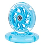 AOWISH 120mm Light Up Scooter Wheels Pair 120 mm LED Flash Flashing 3-Wheel Scooter Front Replacement Wheel with Bearings ABEC-9 for Micro Kickboard Maxi Foldable Deluxe Kick Scooters (Blue)