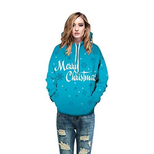TEFIIR Weihnachts Digitaldruck Liebhaber 3D Kleiden Lose Strickjacke des Rundhalsausschnitt Langarm mit der Abzuglinie-Taschen Mantel ver Dickung Samthemdart Weise Beiläufiges Sweatershirt Outwear