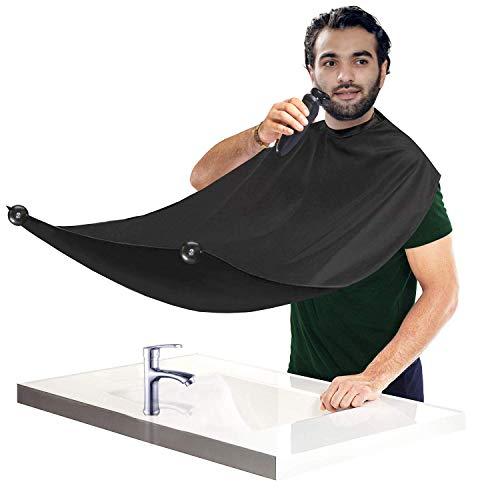 Barba Delantal, CNNIK Barba Delantal Babero con 2 Ventosa Para Afeitado o Corte de Cabello para Hombres