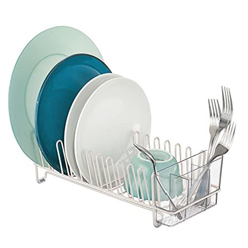 mDesign Escurridor de vajilla de metal – Rejilla escurreplatos para la encimera o el fregadero – Con cubertero de 3 compartimentos de plástico – beige/transparente
