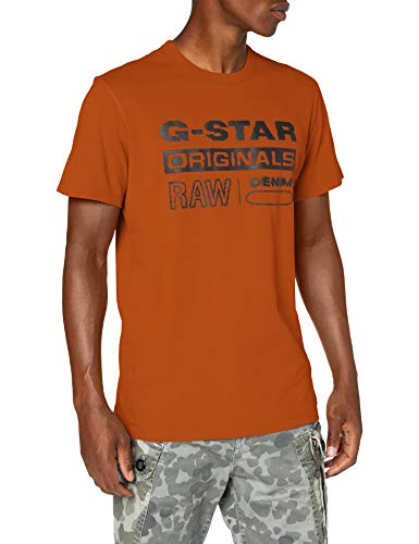 G-STAR RAW Wavy Logo Originals Camiseta, Canela Naranja B353-B727, Small para Hombre