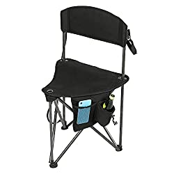 PORTAL Extra Large Quick Folding Tripod Stool with Backrest Fishing Camping Chair