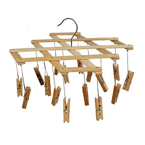 Ayygift Set de 2Durable plegable de madera tendedero lavandería accesorio de ropa calcetines percha 16pinzas abrazaderas