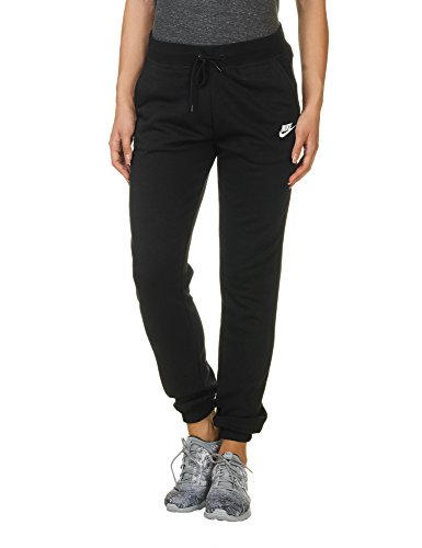 NIKE Women's Sportswear Regular Fleece Pants, Dark Grey Heather/Matte Silver/White, Medium
