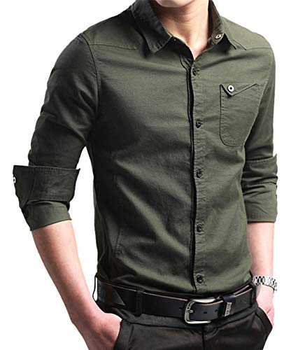 XTAPAN Men's Casual Slim Fit Long Sleeve Button Down Dress Shirt Navy Green 3XL