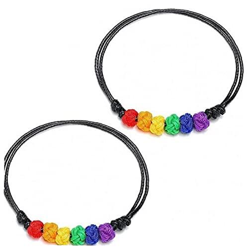Bracciale Orgoglio Nylon Arcobaleno Lgbt Uomo 2 Pezzi Regolabile a Mano Di Amicizia Tessuto Corda Braccialetto 'arcobaleno Orgoglio Bracciale Per Le Donne