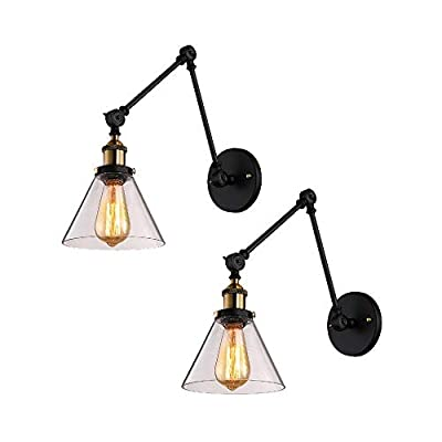 BAYCHEER Industrial Vintage Style Adjustable 2 Swing arms Wall Sconce Wall Light Lamp Fixtures with Glass Shade Bedroom Reading Room Restaurant LOFT