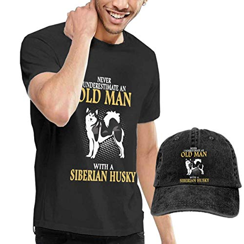 Thimd Never Underestimate an Old Man with A Siberian Husky Herren Kurzarm T Shirt Baseball Cowboy Hut Set Schwarz