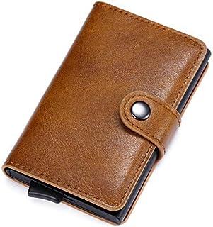 Men's Genuine Leather Slim Wallet Credit Card Holder (Pop Up Case - Yellow)