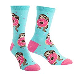 Snacking Sloth Donut Women Crew Socks