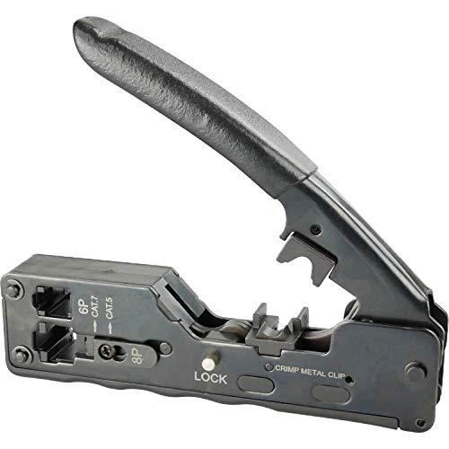 AIXONTEC Crimpzange RJ45 RJ 11 RJ 10 für 8 pin Cat 7 Modular Stecker Netzwerkstecker Lan Patchkabel Cat.7 Verlegekabel Profi Krimp Zange