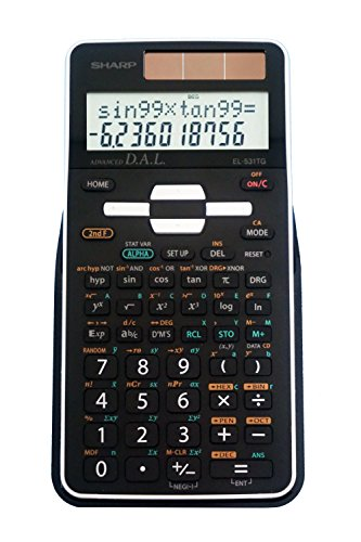 Sharp EL-531TGBBW 12-Digit Scientific/Engineering Calculator with Protective Hard Cover, Battery and Solar Hybrid Powered LCD Display, Great for Students and Professionals, Black,Black and White