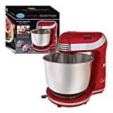 Quest Stand Mixers / 6 Speeds / 3 Litre / Stainless Steel Bowl / Accessories Included / Ideal for Baking (3L, Red)