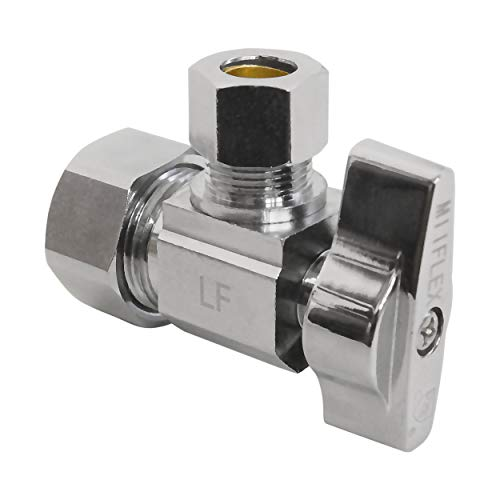 Heavy Duty Chrome Plated Brass 1/4 Turn Angle Valve (1/2' NOM In x 3/8' COMP Out)