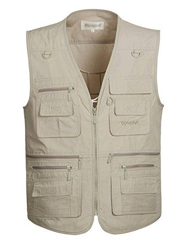 Yimoon Men's Summer Leisure Outdoor Multi-Pocket Lightweight Utility Fishing Travel Vest (Beige, Large)