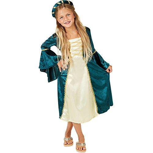 TecTake dressforfun Mädchenkostüm Burgprinzessin | langes Kleid | mit goldfarbenen Zierborten Versehen | Inkl. Haarband (5-6 Jahre | No. 300974)