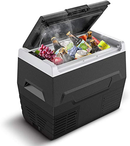 CalmDo 37QT Compressor Car Refrigerator RV Portable Fridge Cooler Compact Mini Freezer (-4℉~77℉) for Driving, Picnic, Fishing, Home and Travel, DC 12/24V, 55W