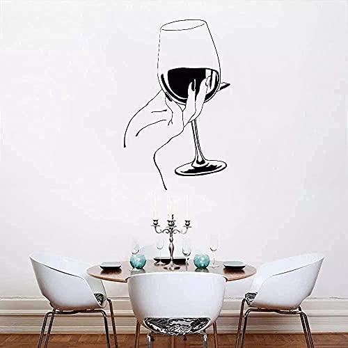 Pegatinas de pared para niños, póster, restaurante, Bar, copa de vino, cocina hecha a mano, restaurante, Bar, decoración, Mural 66X42CM