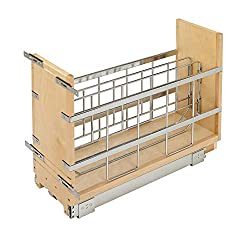Rev-A-Shelf - 447-BCBBSC-8C - 8 in. Pull-Out Wood Foil Wrap/Tray Divider Cabinet Organizer with Ball-Bearing Soft-Close Slides