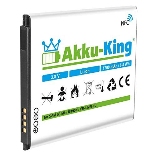 Akku-King Akku kompatibel mit Samsung EB-L1M7FLU - Li-Ion 1700mAh mit NFC - für Galaxy S3 Mini GT-I8190, S III Mini GT-I8190N, GT-I8190T, GT-I8200