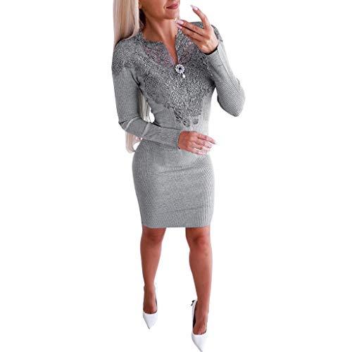 showsing-vrouwen kleding Womens Elegante Mini Jurk, Dames Lange Mouwen V-hals Pakket Hip Mini Jurken, Casual Kant Bloemen V-hals Effen kleur Sweater Jurk
