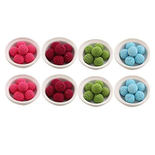 EXCEART 20 Piezas de Bolas de Fieltro de Lana de Ganchillo Bolas de Lana de Fieltro Pompones de Lana Coloridos Cuentas de Lana DIY Accesorios para Hacer Joyas para Collar Pulsera Color