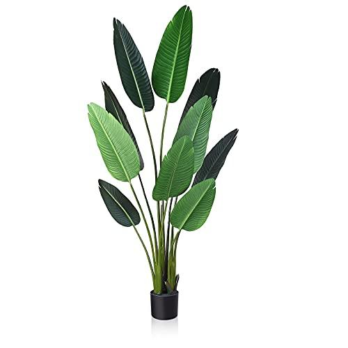 Fopamtri Grande Planta Artificial Decorativas Árbol Ave del Paraíso Hawaiian Tropic Palmera Artificial Altura 160cm para Hogar Oficina Jardín Boda Decoración,10 Pieza Leaves(1PACK)