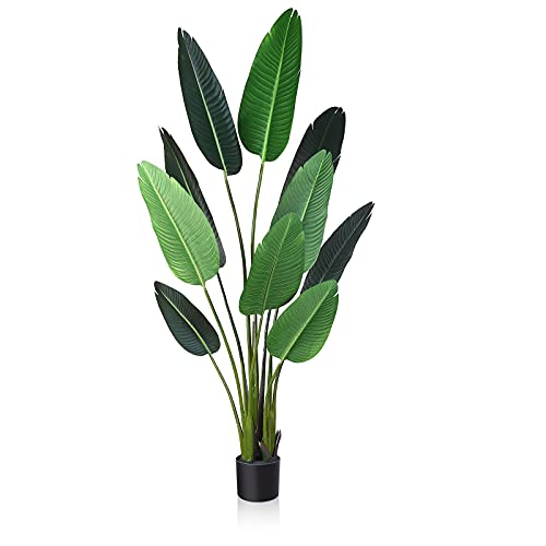 Fopamtri Artificial Bird of Paradise Plant Fake Tropical Palm Tree for Indoor...