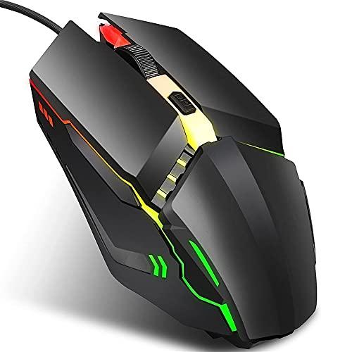BAOZUPO Ratón Ratón para juegos con cable de 4 botones con retroiluminación de 7 direcciones, ajuste de 3 velocidades Ratón óptico mecánico de 1600 ppp, ratón silencioso de oficina para ergonomía, com