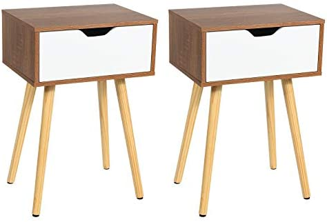Giantex Nightstand Set of 2 W Storage Drawer and Wooden Leg Accent Elegant Style for Living product image