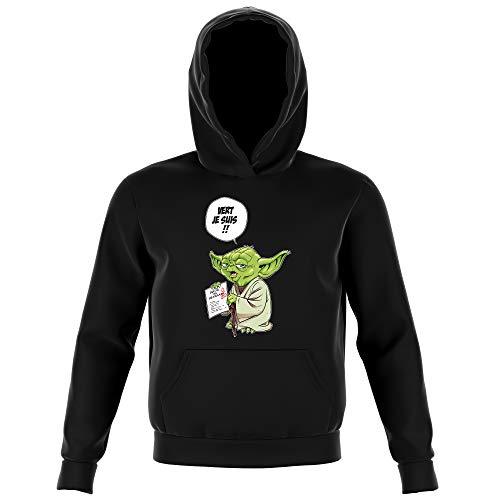 Sweat-Shirt à Capuche Enfant Noir Parodie Star Wars - Yoda - Vert, Je suis !! (Sweatshirt de qualité Premium de Taille 7-8 Ans - imprimé en France)