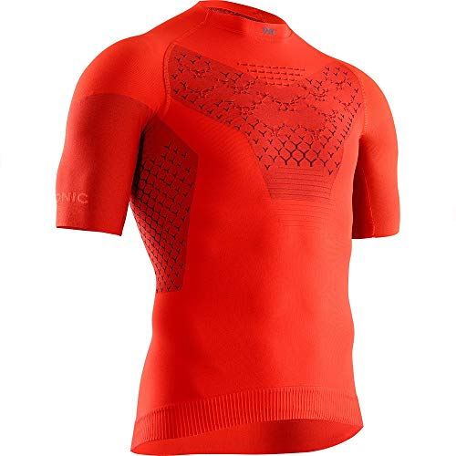 X-Bionic Twyce 4.0 Run Shirt Short Sleeve Men Homme, Sunset Orange/Teal Blue, FR : L (Taille Fabricant : L)