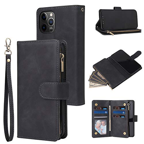 RANYOK Wallet Case Compatible with iPhone 12/12 Pro (6.1 inch), Premium PU Leather Zipper Flip Folio Wallet with Wrist Strap Magnetic Closure Built-in Kickstand Protective Case - Black