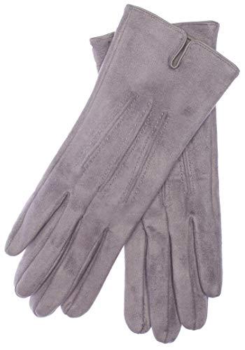 EEM VEGAN Damen Handschuhe ARIANE in Wildleder-Optik gefüttert mit kuschelig weichem Teddyfleece Grau-Meliert One size