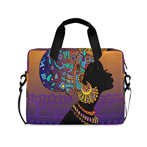 Cuteprint Laptop Case Bag Art African Woman Laptop Sleeves Briefcase Messenger Bag with Strap for Woman Man Business Office School,14 15.6 Inch