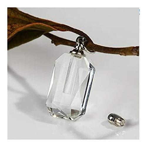 FKJSP 1pcs Rosado Claro rectángulo Vial de Cristal del Perfume Pendiente del Frasco Que Desea Las Botellas de Perfume en joyería Que Encuentra el arroz Pendiente del Frasco Collar