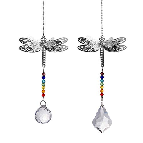 LONGSHENG - SINCE 2001 - Crystal Suncatcher Chakra Colors Beads Dragonfly Window Hanging Ornament Rainbow Suncatcher,Pack of 2 for Christmas Day,Wedding,Plants,Cars,Window Decor