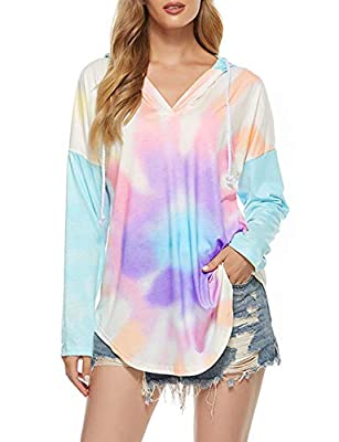 Active Shirt Women Long Sleeve V Neck Long Tunics for Leggings XXL Tie Dye Sun