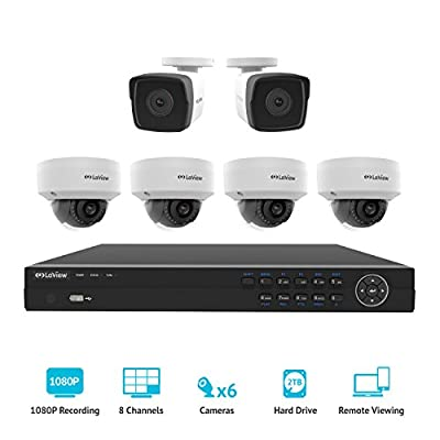 LaView 1080P 2MP IP 6 Camera Security System, 8 Channel IP PoE HDMI NVR with 2TB HDD, 4 Dome & 2 Bullet True 1080P Weatherpoof White Surveillance Cameras