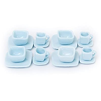 Porcelain Tea Set - TOOGOO(R)16 pcs Miniature Dollhouse Square Dinnerware Porcelain Tea Set Tableware Mug Plate Light Blue