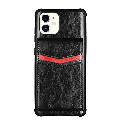 Funda de cuero para iPhone 12, Apple iPhone 12 5.4 pulgadas TPU Bumper Cover híbrido resistente a los golpes suave PU Wallet Case con titulares de tarjetas (negro, 5.4 pulgadas)