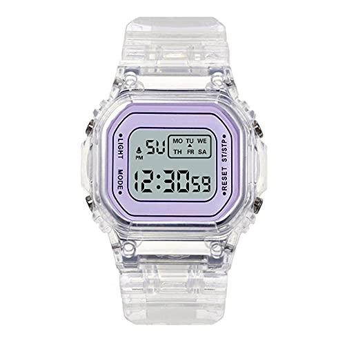 SANDA Relojes De Pulsera para Niñas,Alarma de Noche Deportes Deportes Impermeable Multifunción Medidor electrónico Transparente Cuadrado LED Hombres y Mujeres Estudiantes-púrpura